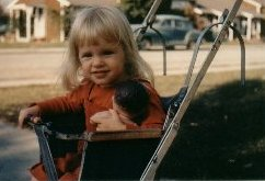 Photo of our Founder in an early Car Seat/Stroller Combination